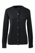 Lands End  Women's LS Supima Crew Cardigan Sweater Black New - $34.99