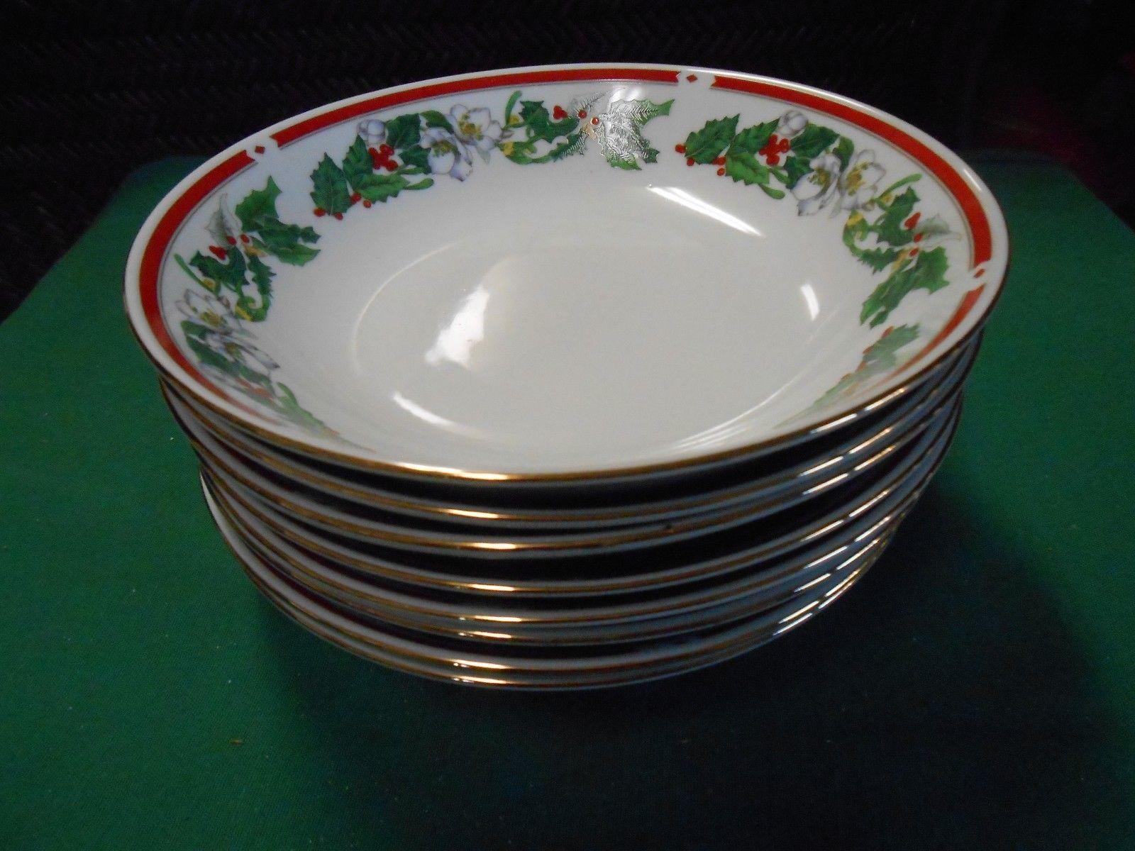 Vintage LYNNS Fine China ST.MARIA Christmas Dinnerware Set of 8 SOUP BOWLS & Vintage Lynns Fine China St.Maria Christmas and 50 similar items