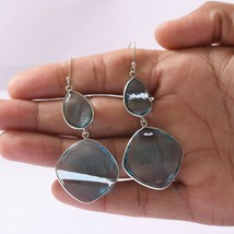 Blue Glass Gemstone Handmade Jewelry 925 Solid Sterling Silver Dangle Ea... - $23.06