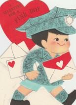 Vintage Valentine Card Mailman for a Fine Boy Die Hallmark Die Cut - $6.92