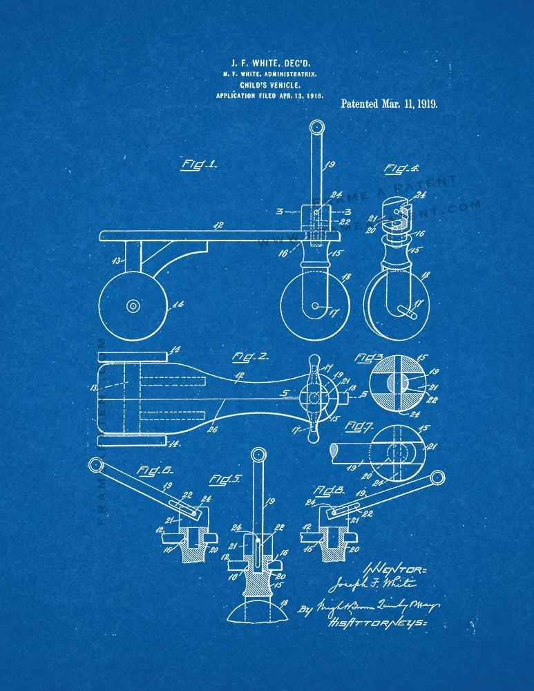 Primary image for Child's Vehicle Patent Print - Blueprint