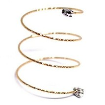 18K ROSE GOLD MAGICWIRE LONG RING ELASTIC WORKED WIRE WHITE TOPAZ SNAKE image 1