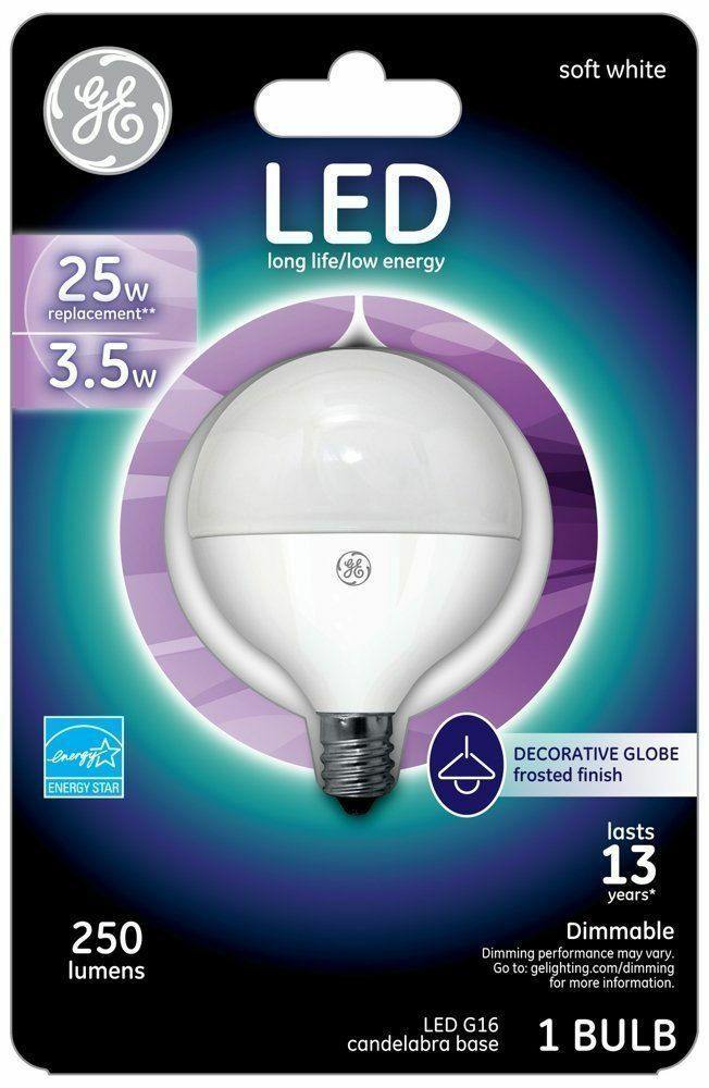 Ge  Soft White Led G16 Candelabra Light Bulb, 4 W - 25W Replacement - $8.79