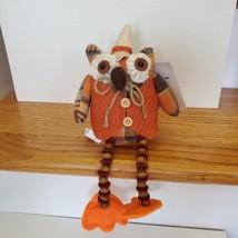 Owl Shelf Sitter, Plaid Fabric, wearing waistcoat and hat, bead legs, fall decor image 5