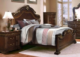 McFerran B538 Traditional Dark Cherry Wood Finish Queen Size Bedroom Set 3Pcs