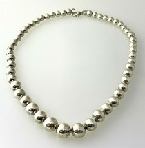 Authentic Tiffany & Co.Sterling Silver Graduated Bead Necklace - $336.59