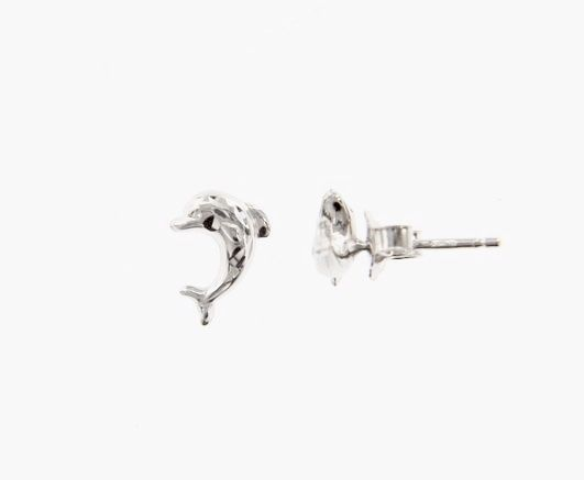18K WHITE GOLD EARRINGS WITH VERY SHINY DOLPHIN WORKED MADE IN ITALY 0.28 INCHES