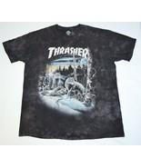 Thrasher 13 Thirteen Wolves The Mountain Shirt Mens XL Black Tie Dye Ska... - $173.13