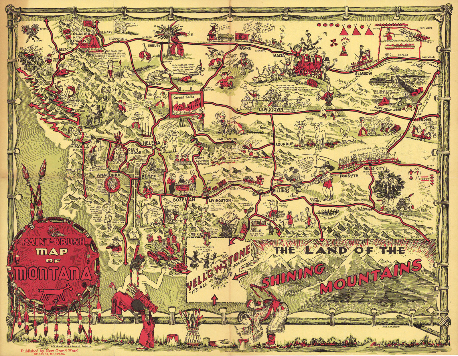 Early Pictorial Map of Montana Wall Art and 49 similar items