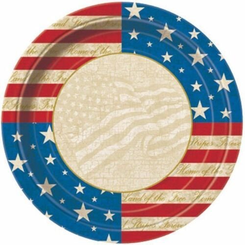 """USA Party 8 7"""" Dessert Cake Plates Patriotic July 4th Memorial Veterans Day"""