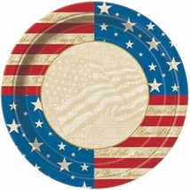"USA Party 8 7"" Dessert Cake Plates Patriotic July 4th Memorial Veterans Day - $2.84"