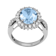 Swiss Blue Topaz & White Topaz 925 Sterling Silver Ring Jewelry Sz-7.5 S... - €24,86 EUR