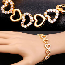 Valentines Day Gift Bracelets Yellow Gold Plated Crystal Heart Love - $26.99