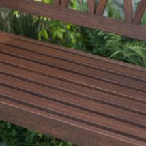 Classic X Back Dark Brown Finish Wood 4 Foot Porch Swing Outdoor Furniture  image 5