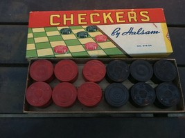 Vintage Checkers by Halsam Checkers Set # 518-24 With Original Box - $11.88