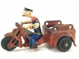 VERY RARE 1930'S HUBLEY CAST IRON POPEYE ON SPINACH DELIVERY MOTORCYCLE ... - $734.99