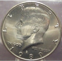1989-D Kennedy Half Dollar BU In the Cello #0706 - $6.89