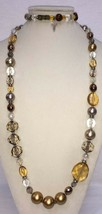 Statement Large Bead Necklace & Matching Bracelet w/ Beads & Crosses Sil... - $14.84