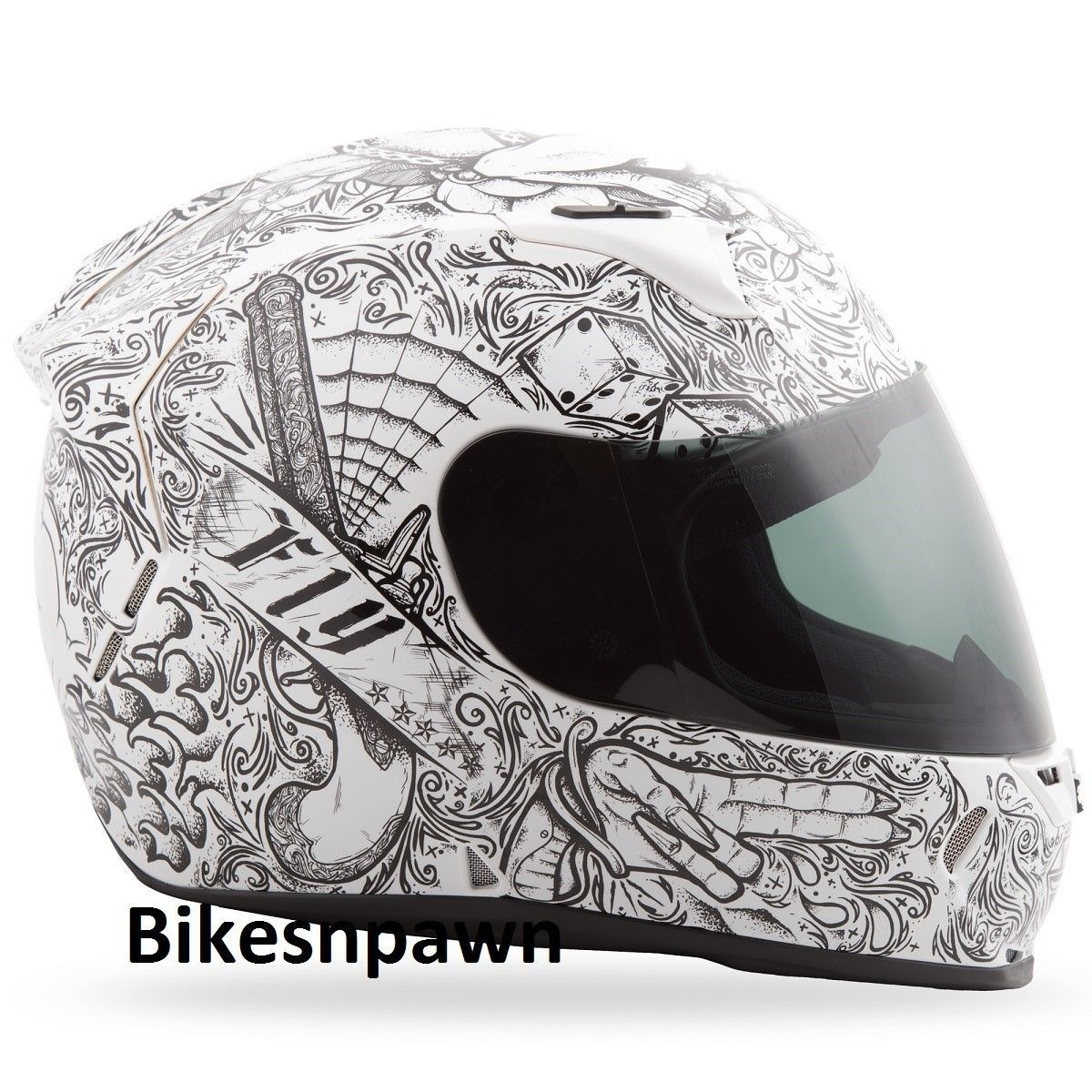 XS Fly Racing Revolt FS Motorcycle Helmet Ink & Needle White/Black DOT & Snell