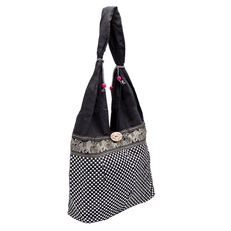 WOMENS CHEAK STYLE SHOPPING SHOULDER BAG GIRL COLLAGE BAG DARK BLACK ELEPHANT