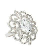 Large CZ by Kenneth Jay Lane Rhodium Plated Round Crystal with Pave Lace... - $25.25