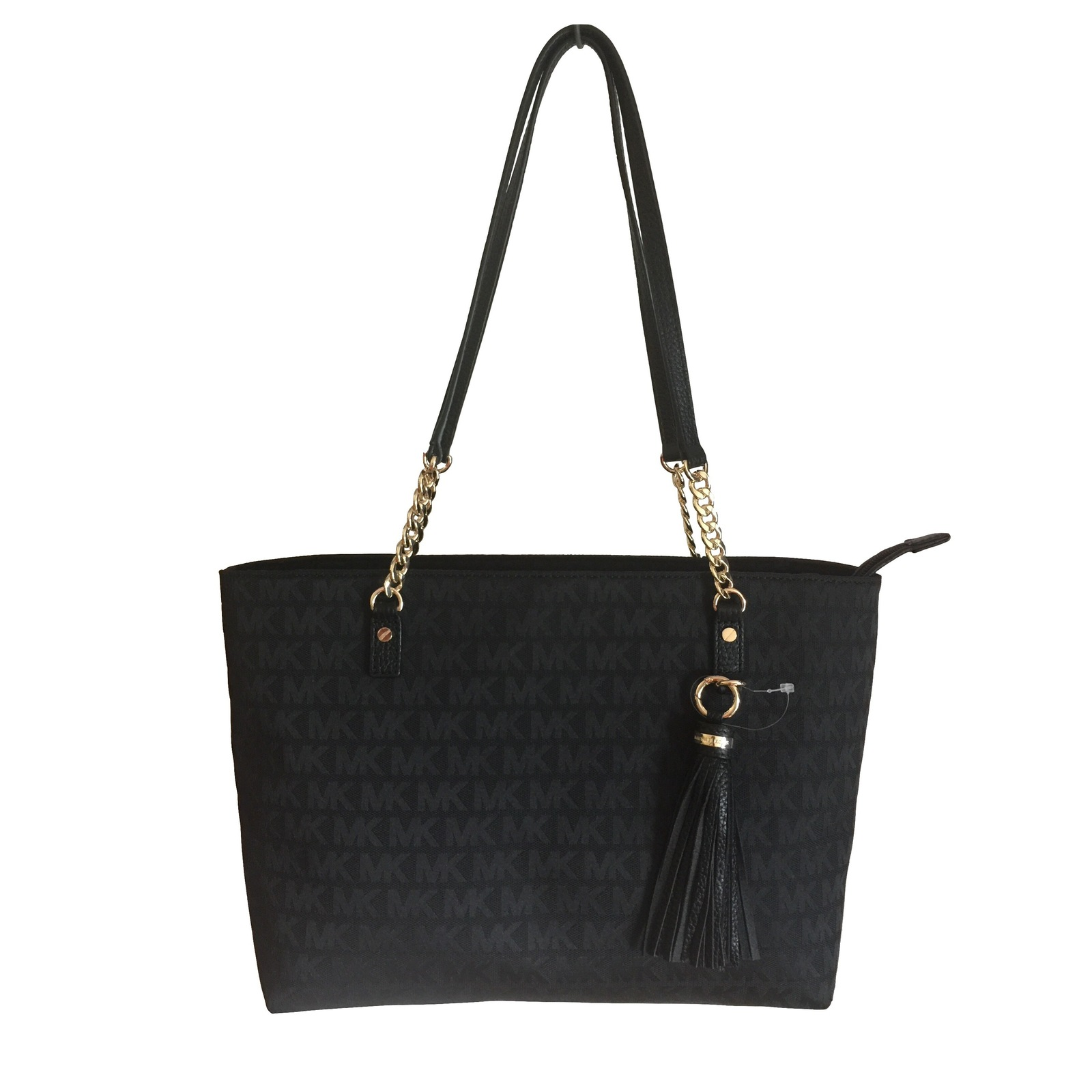 2edc9fb6b1ff Img 6233. Img 6233. Previous. MICHAEL KORS Jet Set Tassel Chain Tote Black  MK Logo Jacquard Shoulder Bag