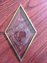 Glass Etched Hummingbird Sun Catcher Diamond Brass Metal Framed - $28.78