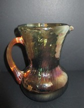 Vintage PILGRIM Blue w MARIGOLD Iridescent PITCHER REEDED HANDLE CARNIVA... - $24.74