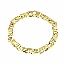 Men's Mariner Link Bracelet 14k Solid Yellow Gold Handmade 37 g  8.4 mm - €1.890,58 EUR