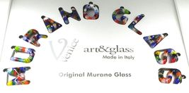 """LETTER H PENDANT MURANO GLASS MULTI COLOR MURRINE 2.5cm 1"""" INITIAL MADE IN ITALY image 3"""