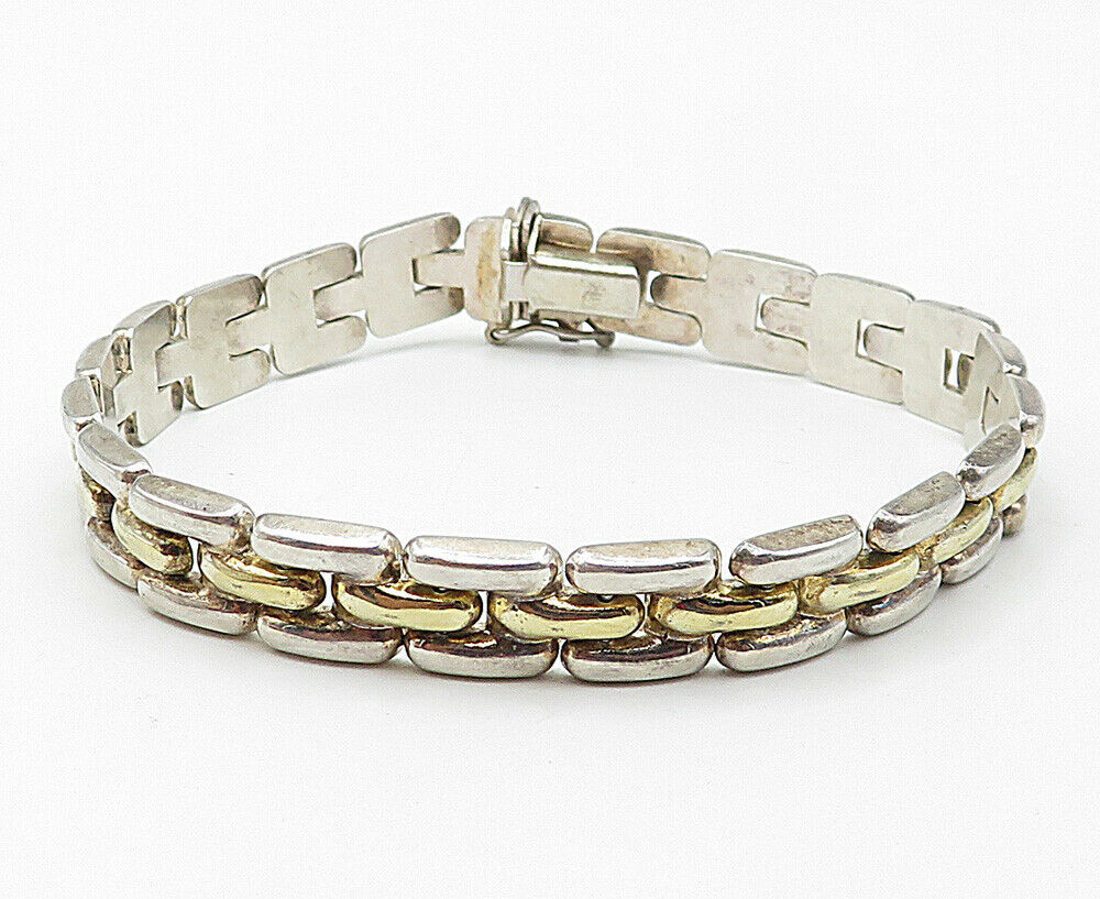 925 Sterling Silver - Vintage Two Tone Smooth Square Link Chain Bracelet - B4959 image 2
