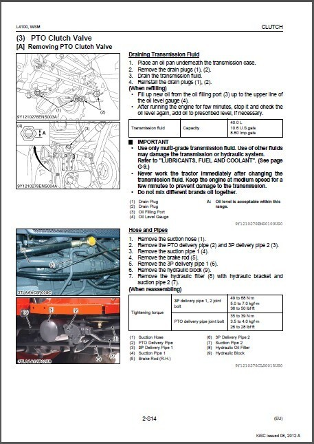 Kubota L4100 / L4100HST Tractor WSM Service and 50 similar items