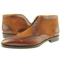 Handmade Men's Brown Leather and Tan Suede Brogues Style Chukka Boots image 3