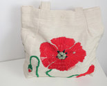 Poppy Red Purse, Linen Tote bag, Poppy flower, Natural cotton Handbag hand sewn