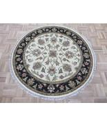4 X 4 Round Hand Knotted Ivory Black Jaipur Agra Design Oriental Rug G7043 - $197.12