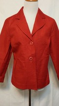 COLDWATER CREEK 10 Petite Red 2 Button Jacket Back Tie Detail 3/4 Cuff S... - $5.93