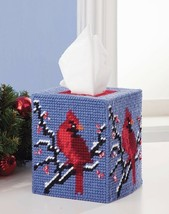 NEW Winter Cardinal Tissue Box Cover Plastic Canvas Kit Blue Red White C... - $17.00