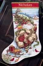 Dimensions Santas Journey Sled Gifts Tree Gold Cross Stitch Stocking Kit 8752 - $52.95