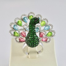 925 Silver Ring Rhodium and Burnished with Zircon Cubic Shaped Peacock image 1