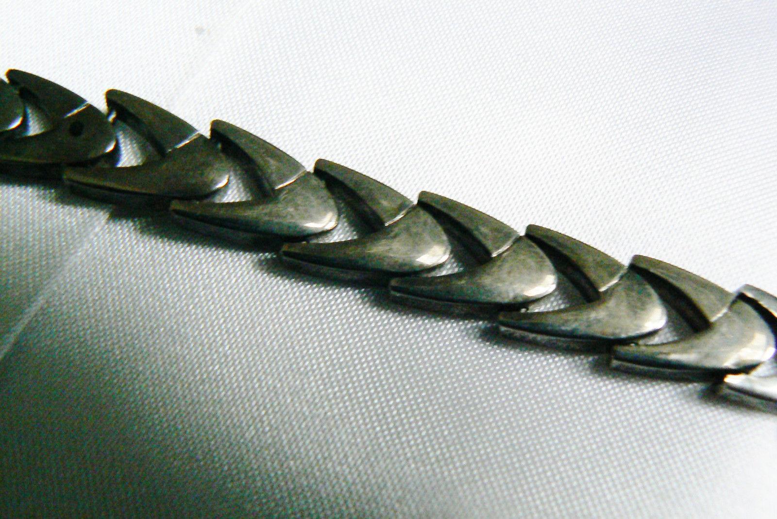"""Vintage Sterling Silver 925 Shevron link  Bracelet 8""""L image 3"""