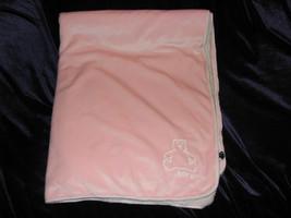 "Baby Gap Pink Velour Sherpa Blanket 30"" x 40"" White Brannan Bear Logo EUC - $16.72"