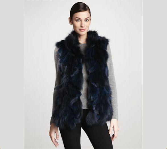 Jocelyn Bicolor Black Navy Roadie Fox Fur Vest New $1.1 image 2