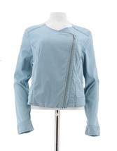H Halston Stretch Chambray Motorcycle Jacket Lt Indigo Wash 6 NEW A288622 - $40.57
