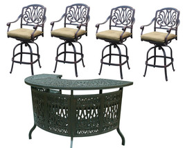 Elisabeth Outdoor Bar Stools Cast Aluminum 5-Piece Bar Set Half Round Pa... - $2,242.35