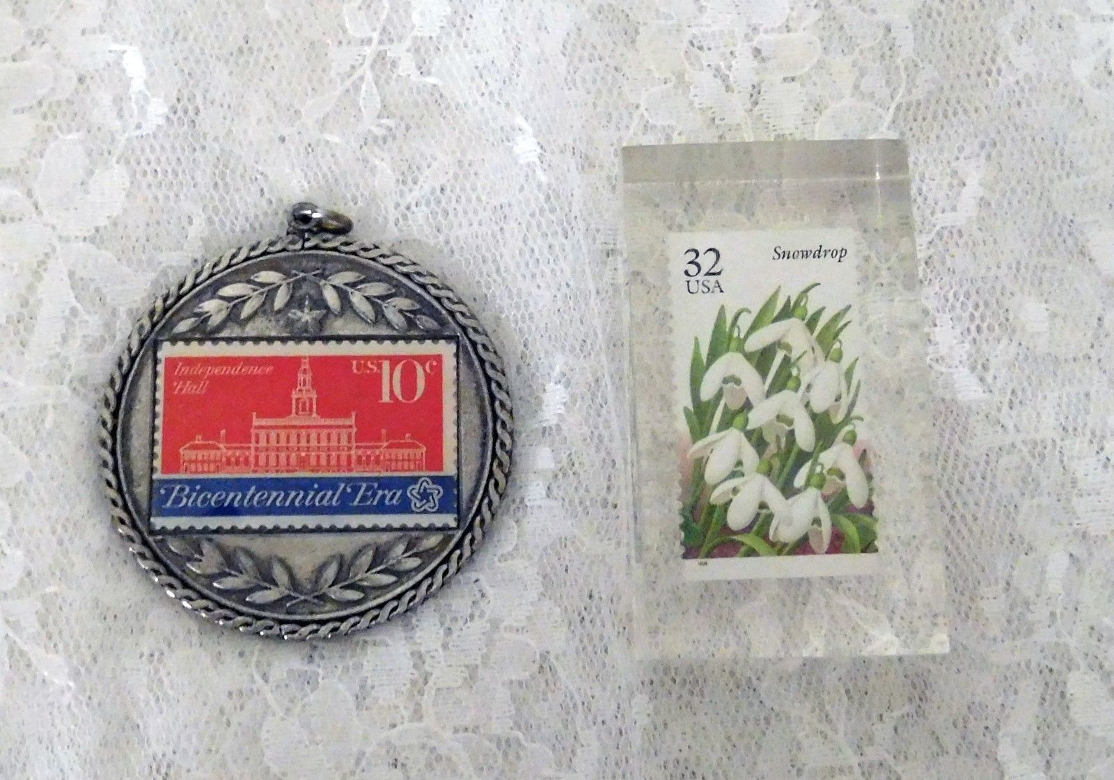 U.S. 10 cent Bicentennial Stamp in Pewter Medallion & 32 cent Snowdrop Acrylic
