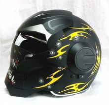 Masei 610 Meikai Hades Matt Black Yellow Motorcycle Helmet image 2
