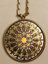 Vintage 1970s REED & BARTON Damascene Gold/Silver Tones Round Pendant Necklace - $70.00