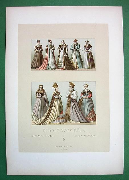 GERMANY Renaissance Costume Ladies Women - COLOR Litho Print by Racinet