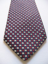 Brooks Brothers Makers 100% Silk Tie Burgundy Black White Men's Cravatte Importb - $23.94