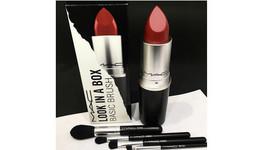 MAC M.A.C. Look in a Box Basic Brush Set w Lipstick Canister PLUS BONUS ... - $73.25